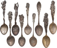 Lot of Nine Sterling Silver Souvenir Spoons With American Indian Designs, Circa 1900-1912