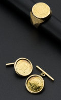 Estate Jewelry:Lots, Spanish Gold Coin Cufflinks & Ring. ...