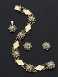 Estate Jewelry:Coin Jewelry and Suites, 18k Gold Bracelet & Earrings & Pendant. ...