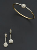 Estate Jewelry:Suites, Antique Diamond Bracelet & Earrings. ...