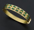 Estate Jewelry:Bracelets, Very Fine Emerald & Diamond Bracelet. ...