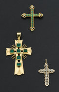 Estate Jewelry:Pendants and Lockets, Three Gold & Gemstone Crosses. ... (Total: 3 Items)