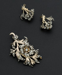 Gold & Silver Brooch & Earrings