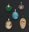 Estate Jewelry:Pendants and Lockets, Five Gold & Gemstone Pendants. ... (Total: 5 Items)