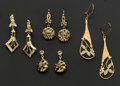 Estate Jewelry:Rings, Four Pair Of 18k Gold Earrings. ... (Total: 4 Items)