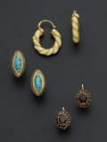 Estate Jewelry:Earrings, Three Pair Of 18k Gold Earrings. ... (Total: 3 Items)