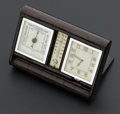Timepieces:Clocks, LeCoultre For Asprey Eight Day Travel Clock With Thermometer AndBarometer, Crocodile Case. ...