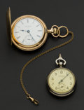 Timepieces:Pocket (post 1900), Elgin Running 18 Size Gold Filled Hunters Case & A New HavenPedometer. ... (Total: 2 Items)