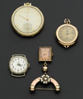 Timepieces:Other , Hamilton Pocket Watch Dueber Wristwatch & Two Pendants. ...(Total: 4 Items)