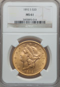 Liberty Double Eagles: , 1892-S $20 MS61 NGC. NGC Census: (1564/1835). PCGS Population(741/1926). Mintage: 930,150. Numismedia Wsl. Price for probl...