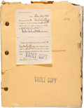 "Movie/TV Memorabilia:Documents, A Lon Chaney-Related Book-Script from ""The Unholy Three.""..."