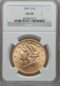 Liberty Double Eagles: , 1899 $20 AU58 NGC. NGC Census: (321/21639). PCGS Population(549/12167). Mintage: 1,669,384. Numismedia Wsl. Price for prob...