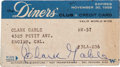 Movie/TV Memorabilia:Autographs and Signed Items, A Clark Gable Signed 'The Diners' Club' Credit Card, 1959....