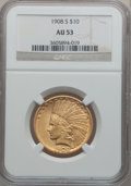 Indian Eagles: , 1908-S $10 AU53 NGC. NGC Census: (73/480). PCGS Population(40/408). Mintage: 59,850. Numismedia Wsl. Price for problem fre...