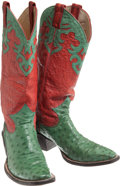 Miscellaneous, Western Apparel: Green Ostrich Cowboy Boots. ...