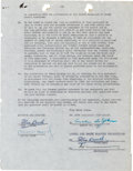 Movie/TV Memorabilia:Autographs and Signed Items, A Stan Laurel and Oliver Hardy Signed Contract, 1955.... (Total: 2 Items)