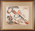 "Music Memorabilia:Autographs and Signed Items, Woody Guthrie Original Watercolor on Paper ""Build a House""Initialed on Front and Signed on Verso. ..."