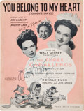 Movie/TV Memorabilia:Autographs and Signed Items, A Walt Disney Signed Piece of Sheet Music, Circa 1944....