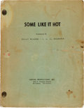 "Movie/TV Memorabilia:Documents, A Joan Shawlee Personally-Owned Script from ""Some Like It Hot.""..."