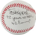 Autographs:Baseballs, Ted Koppell Single Signed Baseball (With Inscription)....