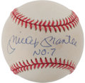 Autographs:Baseballs, Mickey Mantle # 7 Single Signed Inscription Baseball. ...