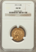 Indian Half Eagles: , 1911-S $5 AU58 NGC. NGC Census: (757/944). PCGS Population(270/871). Mintage: 1,416,000. Numismedia Wsl. Price for problem...