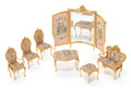 Decorative Arts, French:Other , A SEVEN PIECE FRENCH LOUIS XV-STYLE MINIATURE GILT METAL SALONSUITE . Circa 1900. 6-3/4 inches high x 8-3/4 inches wide (17...(Total: 7 Items)