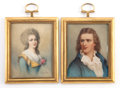 Decorative Arts, French:Other , A PAIR OF FRENCH FRAMED IVORY MINIATURES AFTER NICOLAS DELARGILLIÈRE . Circa 1900. Signed: N Largillière . 3-1/4 x2-1/... (Total: 2 Items)