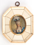 Decorative Arts, French:Other , A GERMAN FRAMED IVORY PORTRAIT MINIATURE . Circa 1860. Signed:n Jainnel. 4-3/4 inches high (12.1 cm) (includingfr...