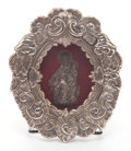 Silver Holloware, Continental, A FRAMED CONTINENTAL SILVERED METAL ICON . 19th century. 5-3/4inches high x 5 inches wide (14.6 x 12.7 cm) (frame). FROM ...