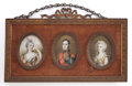 Decorative Arts, French:Other , A FRENCH FRAMED SET OF THREE IVORY PAINTED PORTRAIT MINIATURESAFTER CLAUDE BORNET . Circa 1860. Signed: Bornet. 3-1/8 x...