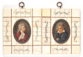 Decorative Arts, Continental:Other , A FRAMED PAIR OF GERMAN IVORY PORTRAIT MINIATURES: BEETHOVENAND MOZART . Circa 1860. Signed: n J... (Total: 2Items)