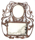 Decorative Arts, Continental:Other , A CONTINENTAL JUGENDSTIL DOUBLE WROUGHT IRON WALL MIRROR . Circa1900. 51 inches high x 42 inches wide (129.5 x 106.7 cm). ...