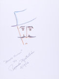 Movie/TV Memorabilia:Original Art, Richardo Montalban: Actor's Doodle for Hunger. BenefittingSt. Francis Food Pantries and Shelters. ...