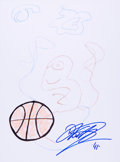Movie/TV Memorabilia:Original Art, Dirk Nowitzki: Basketball Player's Doodle for Hunger. Benefitting St. Francis Food Pantries and Shelters. ...