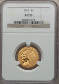 Indian Half Eagles: , 1913 $5 AU55 NGC. NGC Census: (244/10560). PCGS Population(449/7250). Mintage: 915,900. Numismedia Wsl. Price for problem ...