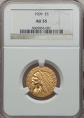 Indian Half Eagles: , 1909 $5 AU55 NGC. NGC Census: (161/5984). PCGS Population(338/3925). Mintage: 627,138. Numismedia Wsl. Price for problemf...