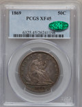 Seated Half Dollars: , 1869 50C XF45 PCGS. CAC. PCGS Population (24/114). NGC Census:(9/86). Mintage: 795,300. Numismedia Wsl. Price for problem ...