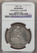 Seated Dollars: , 1869 $1 -- Improperly Cleaned -- NGC Details. AU. NGC Census:(4/72). PCGS Population (15/95). Mintage: 423,700. Numismedia...