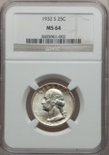 Washington Quarters: , 1932-S 25C MS64 NGC. NGC Census: (618/67). PCGS Population(1020/118). Mintage: 408,000. Numismedia Wsl. Price for problem ...