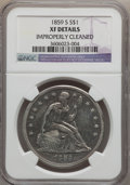 Seated Dollars: , 1859-S $1 -- Improperly Cleaned -- NGC Details. XF. NGC Census:(13/96). PCGS Population (27/112). Mintage: 20,000. Numisme...