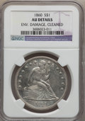 Seated Dollars: , 1860 $1 -- Cleaned, Environmental Damage -- NGC Details. AU. NGCCensus: (7/84). PCGS Population (15/114). Mintage: 217,600...