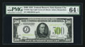 Small Size:Federal Reserve Notes, Fr. 2201-J $500 1934 Light Green Seal Federal Reserve Note. PMG Choice Uncirculated 64 EPQ.. ...