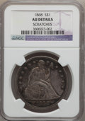 Seated Dollars: , 1868 $1 -- Scratches -- NGC Details. AU. NGC Census: (7/54). PCGSPopulation (27/61). Mintage: 162,100. Numismedia Wsl. Pri...