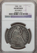 Seated Dollars: , 1846 $1 -- Repaired -- NGC Details. AU. NGC Census: (32/261). PCGSPopulation (78/219). Mintage: 110,600. Numismedia Wsl. P...