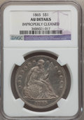 Seated Dollars: , 1865 $1 -- Improperly Cleaned -- NGC Details. AU. NGC Census:(6/49). PCGS Population (19/64). Mintage: 46,500. Numismedia ...