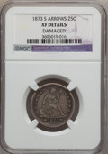 Seated Quarters: , 1873-S 25C Arrows -- Damaged -- NGC Details. XF. NGC Census:(3/39). PCGS Population (12/27). Mintage: 156,000. Numismedia ...