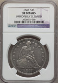 Seated Dollars: , 1847 $1 -- Improperly Cleaned -- NGC Details. XF. NGC Census:(22/348). PCGS Population (57/404). Mintage: 140,750. Numisme...