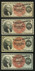 Fr. 1301 25¢ Fourth Issue Very Fine; Fr. 1302 25¢ Fourth Issue About New; Fr. 1303 25¢ Fourth Iss