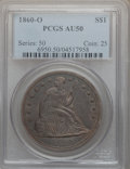 Seated Dollars: , 1860-O $1 AU50 PCGS. PCGS Population (66/883). NGC Census:(25/595). Mintage: 515,000. Numismedia Wsl. Price for problem fr...